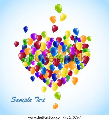 vector Heart shape balloons - stock vector