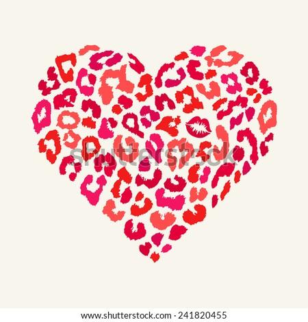 Vector heart shape - Leopard texture with kiss print  - stock vector