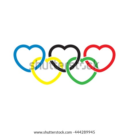 vector heart shaped olympic rings - stock vector