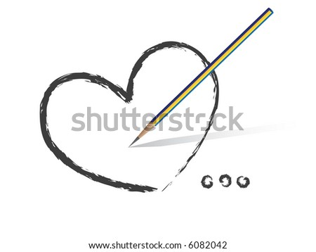 Vector - Heart shaped symbol formed by a pencil in grey. Concept: Romance