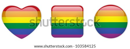 Vector - Heart, Square and Circle Glass Buttons Gay - stock vector