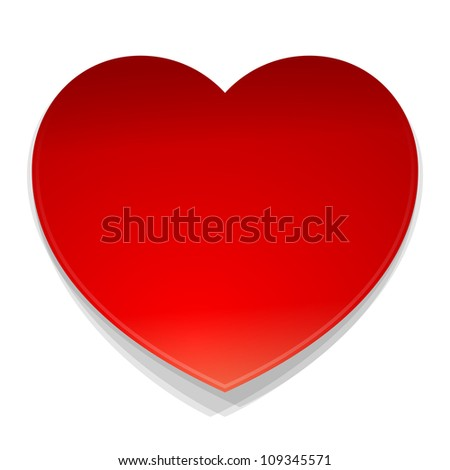 Vector Heart Symbol - Isolated illustration of red heart as a love symbol on white background - stock vector
