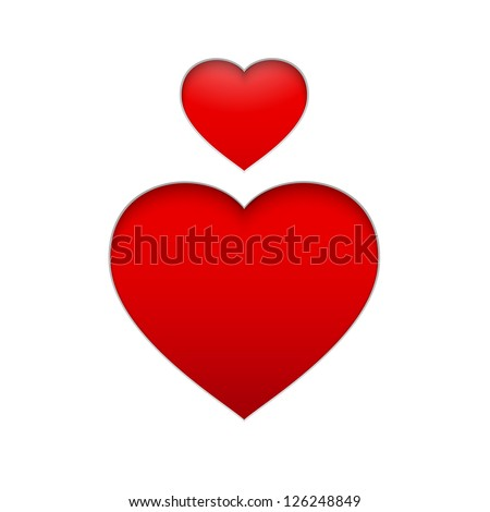 Vector Heart Symbol. Isolated illustration of red heart on white background. Vector illustration, eps 10, contains transparencies. - stock vector