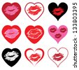 vector heart symbols set with love kiss for wedding and valentine design - stock photo