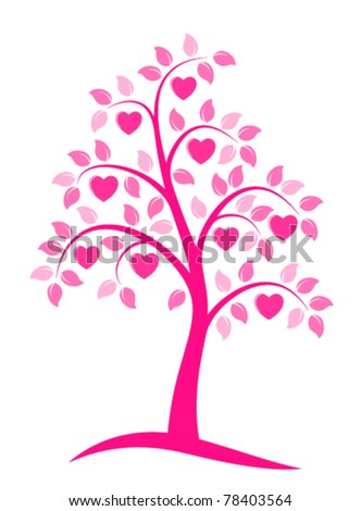 vector heart tree on white background - stock vector