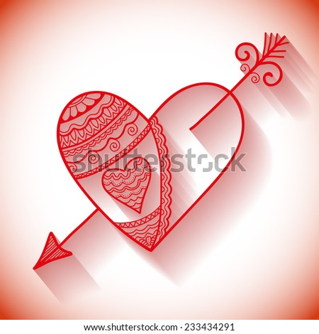 Vector heart with arrow, hand drawn ornament, lace pattern. Love concept for Valentines Day or Wedding design. - stock vector