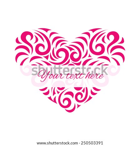 Vector heart with place for your text.  Elements for cards, gifts, crafts, invitation. - stock vector