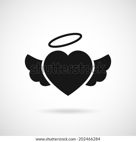 Vector Heart Wings Icon Halo On Stock Vector 202466284 ...