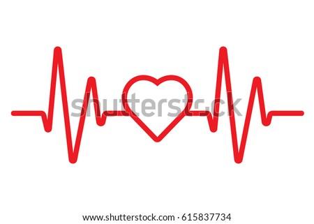 vector heartbeat heart beat icon cardiogram stock vector 615837734