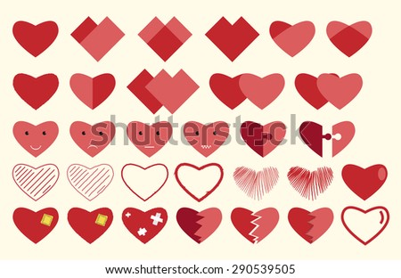 Vector hearts collection. Hearts, characters, smiley faces, puzzles, patched, broken, sewn and hand drawn. EPS 10 vector illustration, no transparency - stock vector