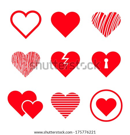 Vector hearts set