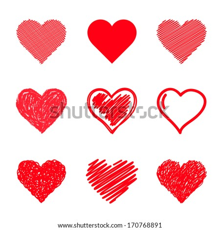 Vector hearts set. Hand drawn. - stock vector