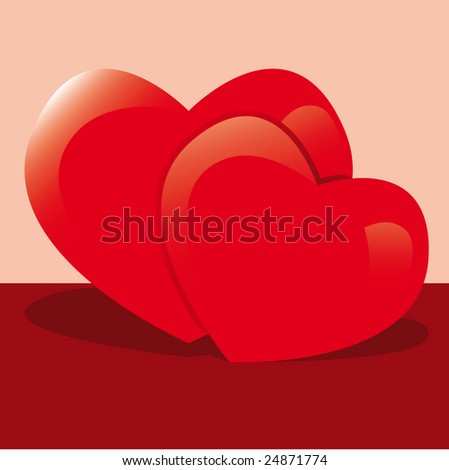 Vector Hearts with Shadow