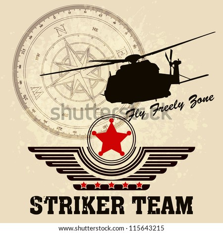 Vector Helicopter / Flying Academy Emblems - stock vector