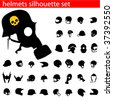 vector helmet silhouette set - stock vector