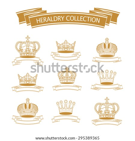 Vector heraldic elements design. Crown, ribbon collection. Ancient beauty and heraldry elements insignia. Traditional aristocracy signs. Heraldry template. - stock vector