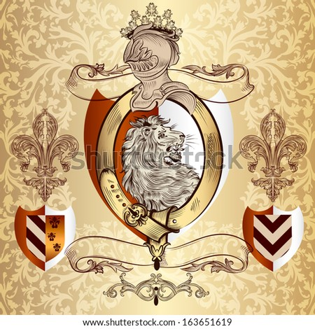 Vector heraldic illustration in vintage style with shield, armor, crown and lion for design - stock vector
