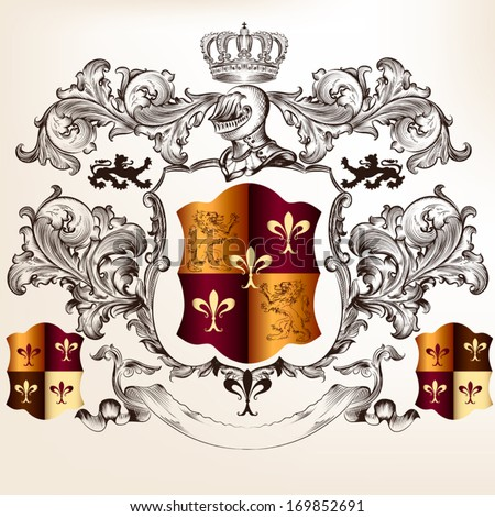 Vector heraldic illustration in vintage style with shield, armor, crown and swirl ornament for design - stock vector
