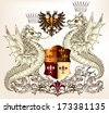 Vector heraldic illustration in vintage style with shield, crown and winged dragon  for design - stock vector