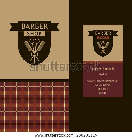 Vector heraldic logo for a hairdressing salon. Business card. Template for corporate style barbershop. Status and elegance. - stock vector