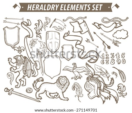 Vector Heraldry Emblem Collection Coat Arms Stock Vector 273178448