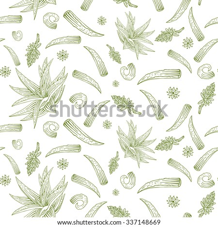 Vector herb pattern with aloe vera, flowers and branches. Lightness seamless pattern with botanical illustration perfectly for print, packing and textiles design.  - stock vector
