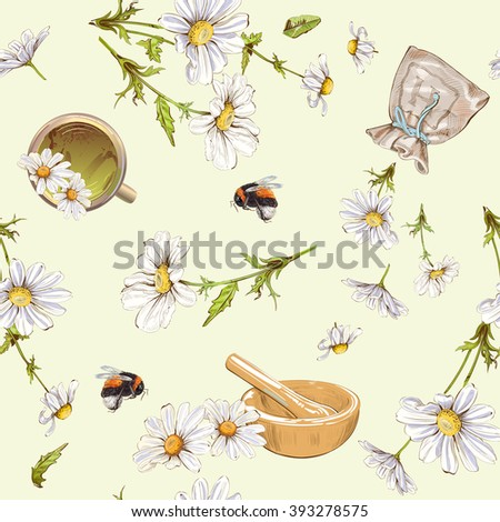 Vector herbal seamless pattern with chamomile flowers. Background design for herbal cosmetics, tea, homeopathy, health care products. Best for fabric, textile, wrapping paper.