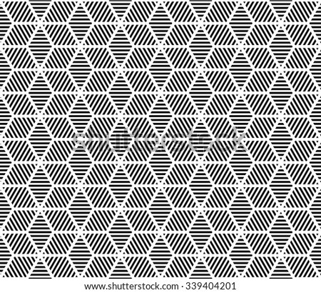 vector hexagon and rhombus seamless pattern. endless texture black and white. abstract geometric ornament background.