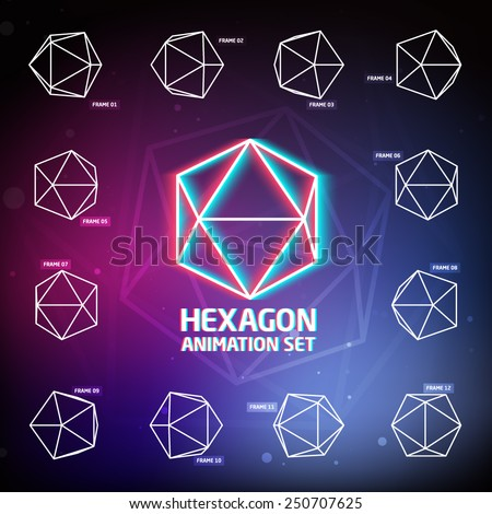 Vector Hexagon Animation Set for preloaders and presentations - stock vector