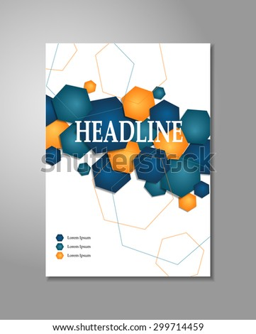 Vector hexagon corporate cover design for brochure or flyer - stock vector