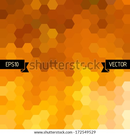 Vector hexagons background, Orange geometric pattern, Graphic or website layout, Abstract vector with colorful hexagonal honey combs - stock vector