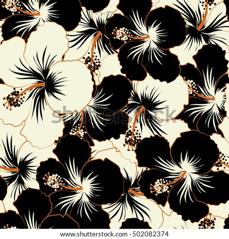 Vector hibiscus floral pattern floral seamless pattern hibiscus flowers design in black and white