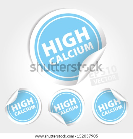 Vector : High Calcium Stickers and Tags with Light Blue color - icon, banner, label, badge, sign, symbol