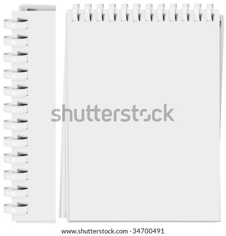 vector high detailed plastic spiral bound notepad page (CMYK) - stock vector