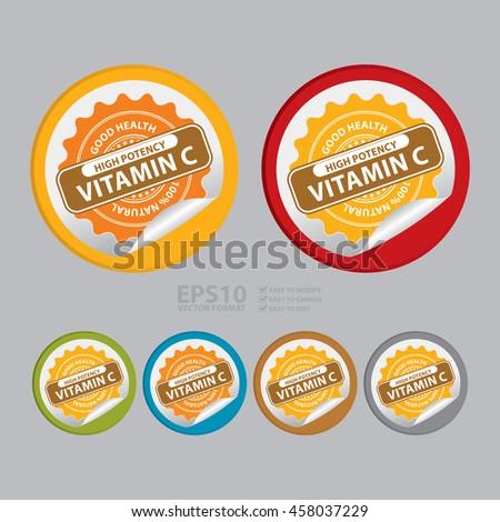 Vector : High Potency Vitamin C Good Health 100% Natural Infographics Icon on Circle Peeling Sticker - stock vector