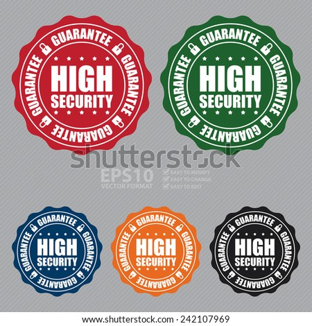 Vector: High Security Guarantee Icon, Badge, Sticker, Tag or Label - stock vector