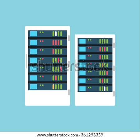 Vector high tech internet data center server. Server vector room. Server icon illustration. Technology, web, internet and technology. Cloud data storage - stock vector