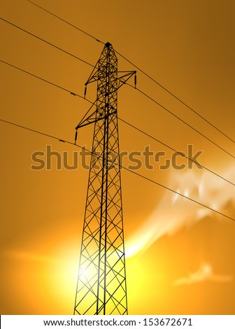 vector high voltage tower in the sunset, eps10 file, gradient mesh and transparency used