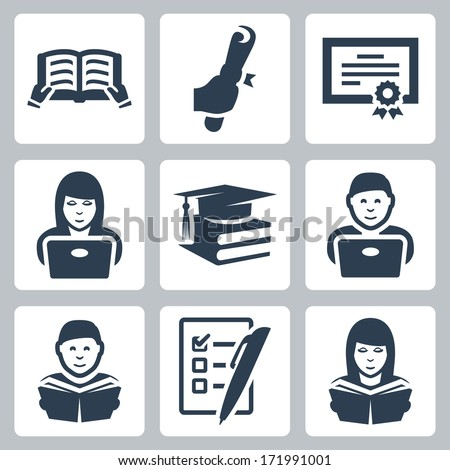 Vector higher education icons set - stock vector