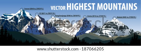 Vector highest mountains illustration - stock vector