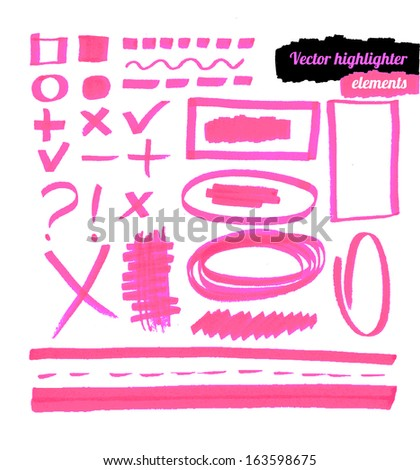 Vector highlighter elements.  - stock vector