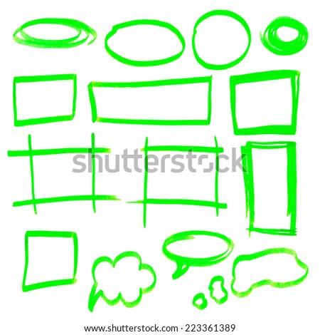 Vector highlighter elements - hand drawn frames, green - stock vector