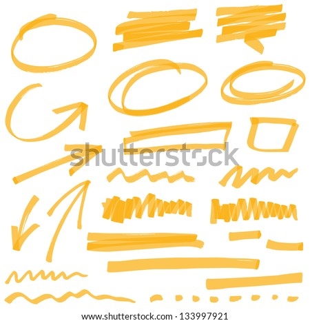 vector highlighter elements VOL 2 - color can be changed by one click - stock vector