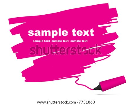 Vector - Highlighter pen with scribbles on a blank piece of paper. Text can be entered on colored area. - stock vector