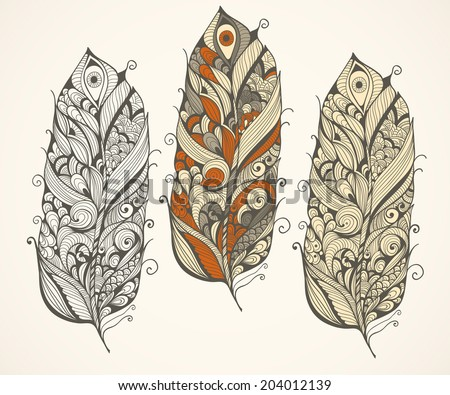 Vector highly detailed doodle  feathers - stock vector