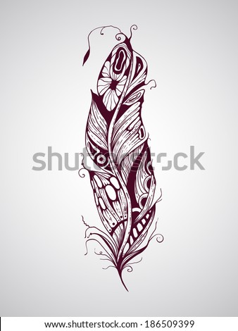 Vector highly detailed hand drawn tattoo feather - stock vector