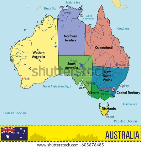 Detailed Political World Map Capitals Rivers Stock Vector - Political map of australia