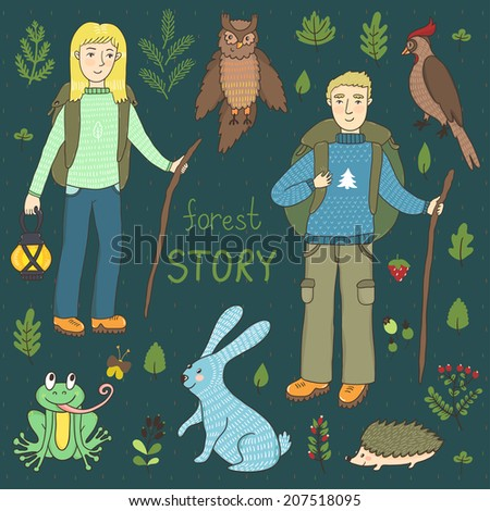 Vector hiking set with two people, forest animals and plants: berries, leaves and branches. Hand drawing cartoon characters: girl, boy, rabbit, hedgehog, frog, owl, woodpecker. Eco tourism set. - stock vector