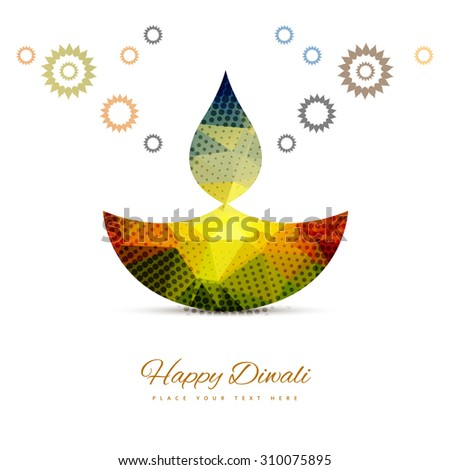 vector Hindu festival Diwali lamp card colorful white background  - stock vector