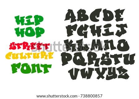 VECTOR HIP HOP GRAFFITI FONT ALPHABET